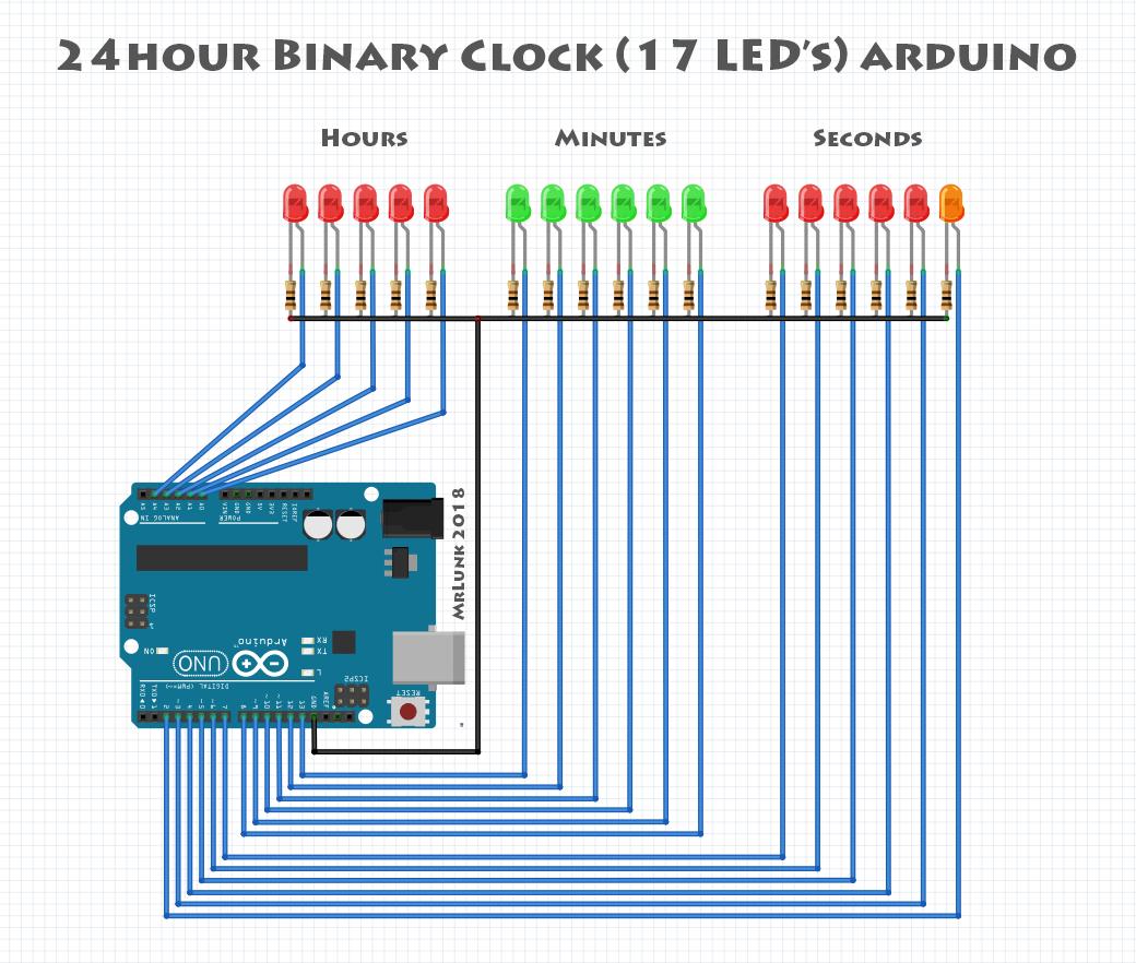 Arduino 24h Binary Clock With Seconds 17 Leds Led Circuit 8izwvkeez6