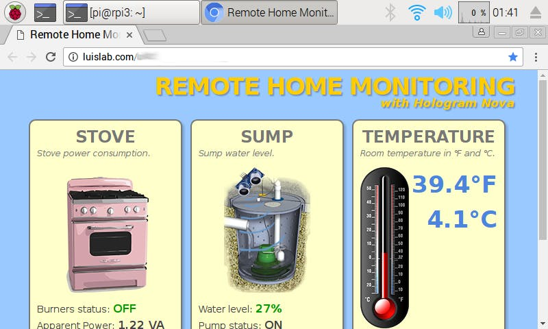 Remote Home Monitor Dashboard - Chromium web browser