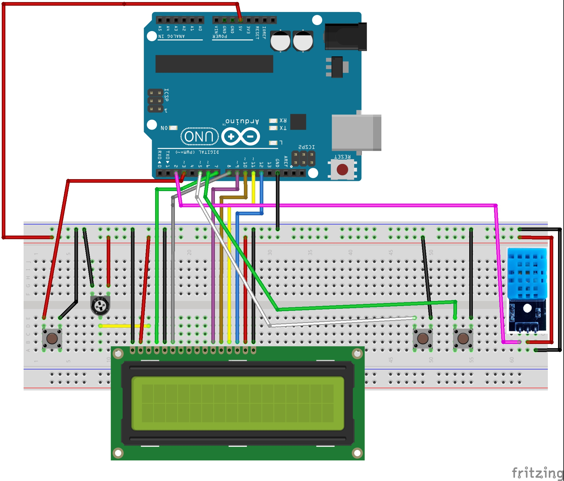 Arduino Lcd Projects Without Potentiometer How To Build A Custom Wiringpi Tutorial Clock Using Rtc In With Temperature And Humi
