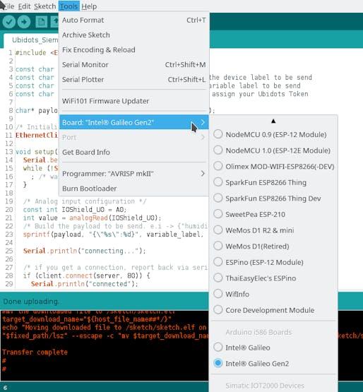 Siemens SIMATIC IOT2000 Series to Ubidots + Arduino IDE - Hackster io