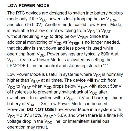 Here's what the ISL1208 datasheet says about the low power mode - warns about the I2C problem. I encountered this once