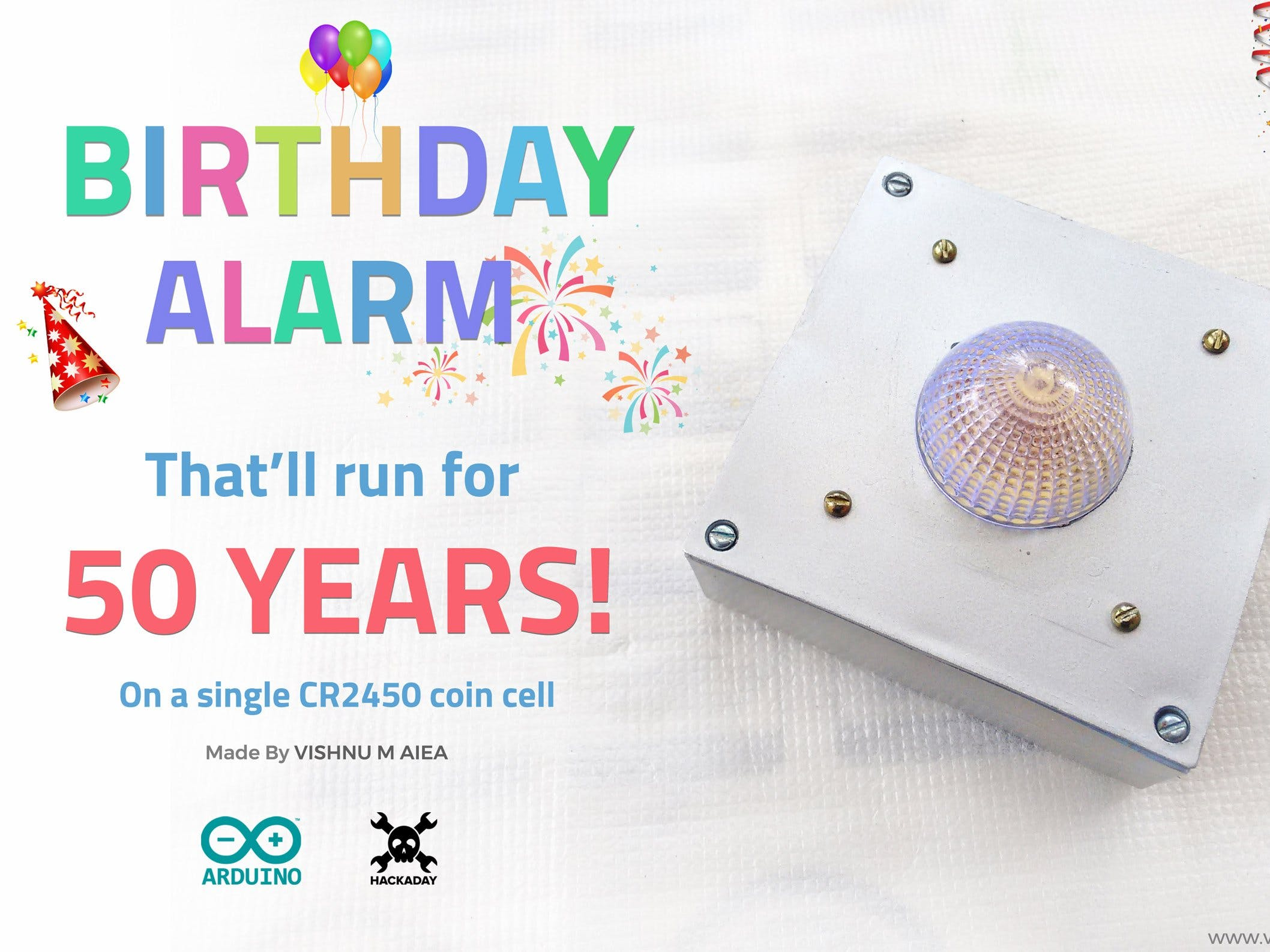 Birthday Alarm That'll Run for 50 Years