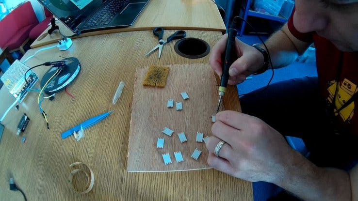 Pre-tinning the soldering points