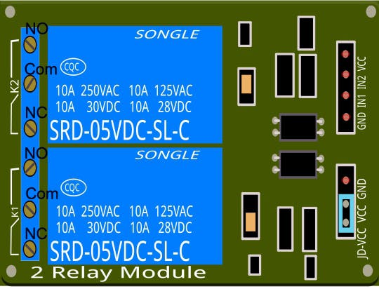 The relay terminals are labeled.