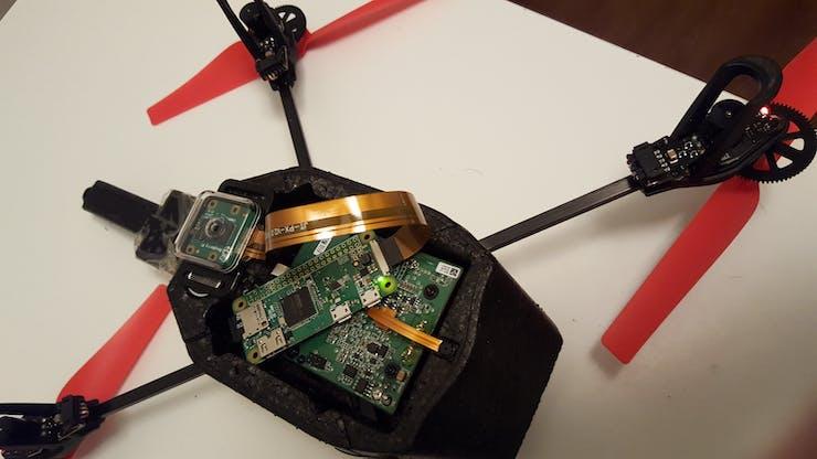 Pi Zero controls the drone, rear facing pi cam