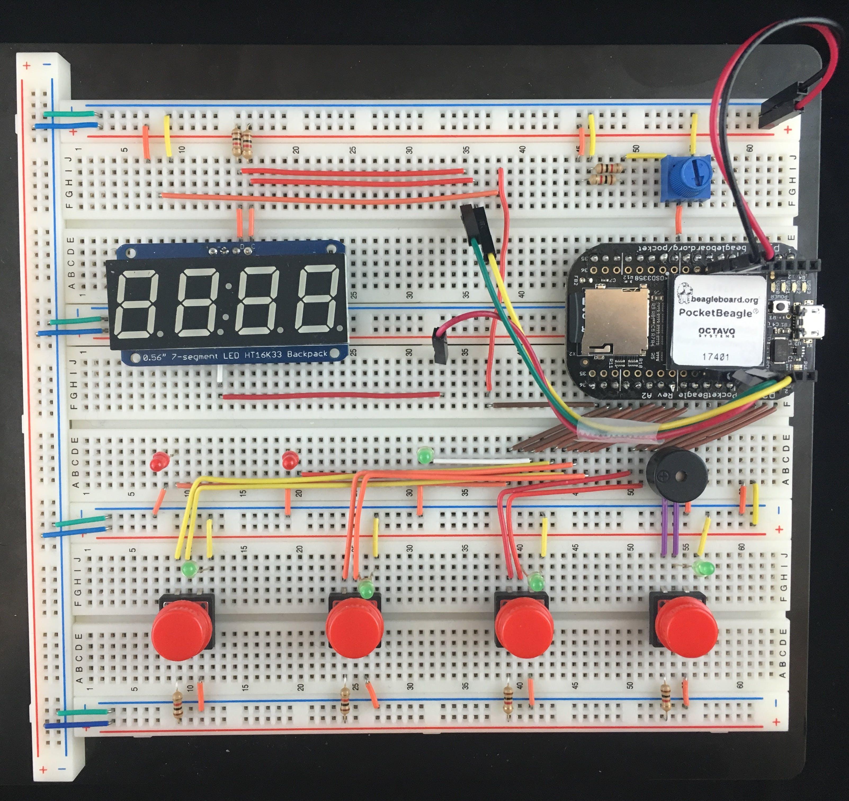Hardware Layout for PocketBeagle Whac-A-Mole Game