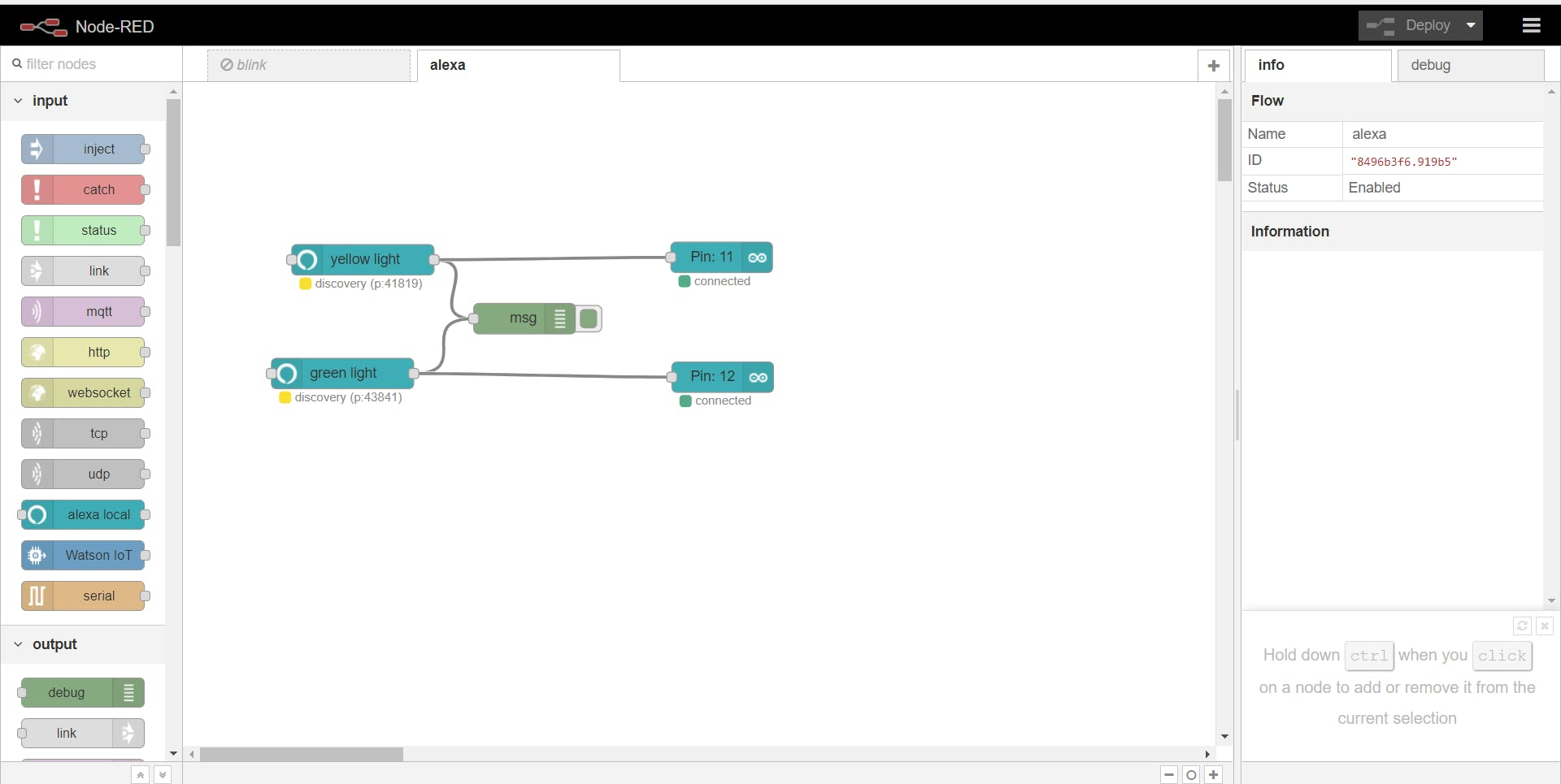 Node-RED flow with Alexa Local and Android nodes