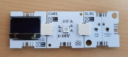 OLED Display, Microprocessor and UV Sensor.