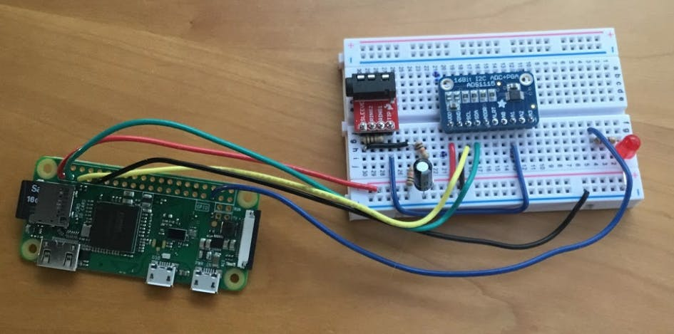 Publisher breadboard with connections to Raspberry Pi Zero