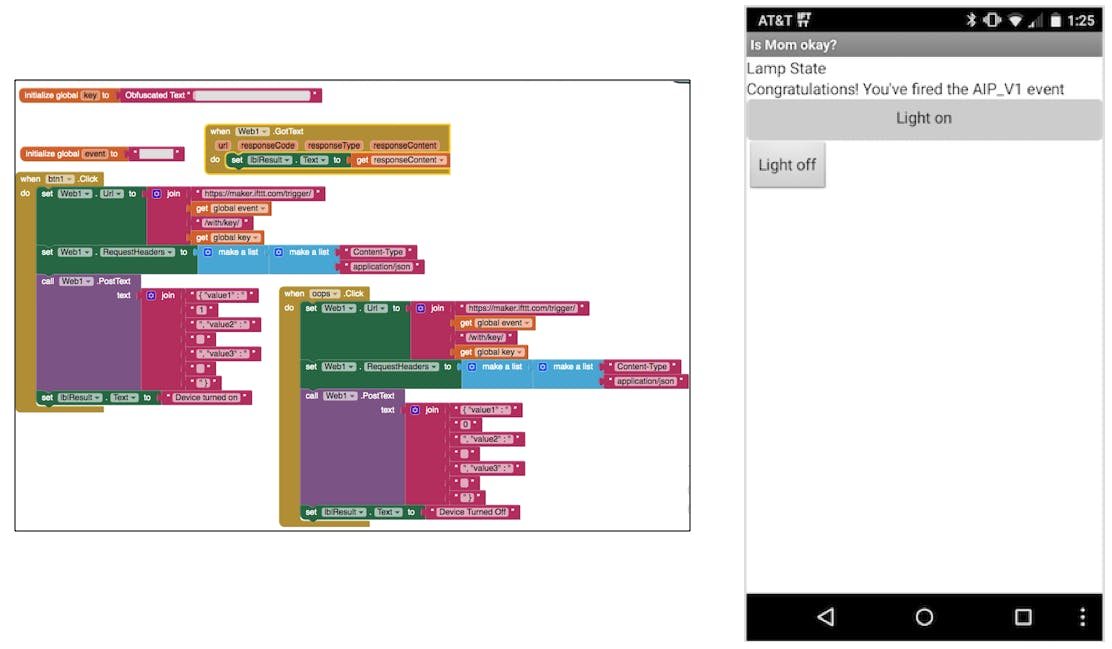 Block code and screen shot from the message sending test smartphone app