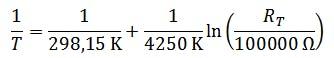 Näherungsgleichung mit den eingesetzten bekannten Werten für den Grove-Sensor