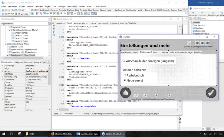 Lazarus Integrated Development Environment (IDE) with the TACTbox project open