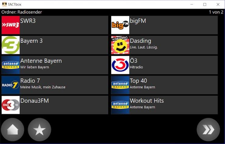 menu for radio stations
