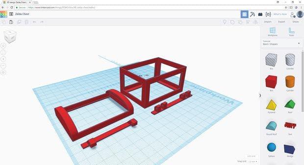 Parts designed using Thinkercad