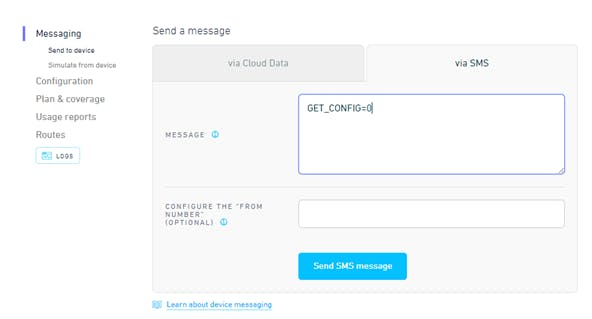 SMS to ask for configuration info