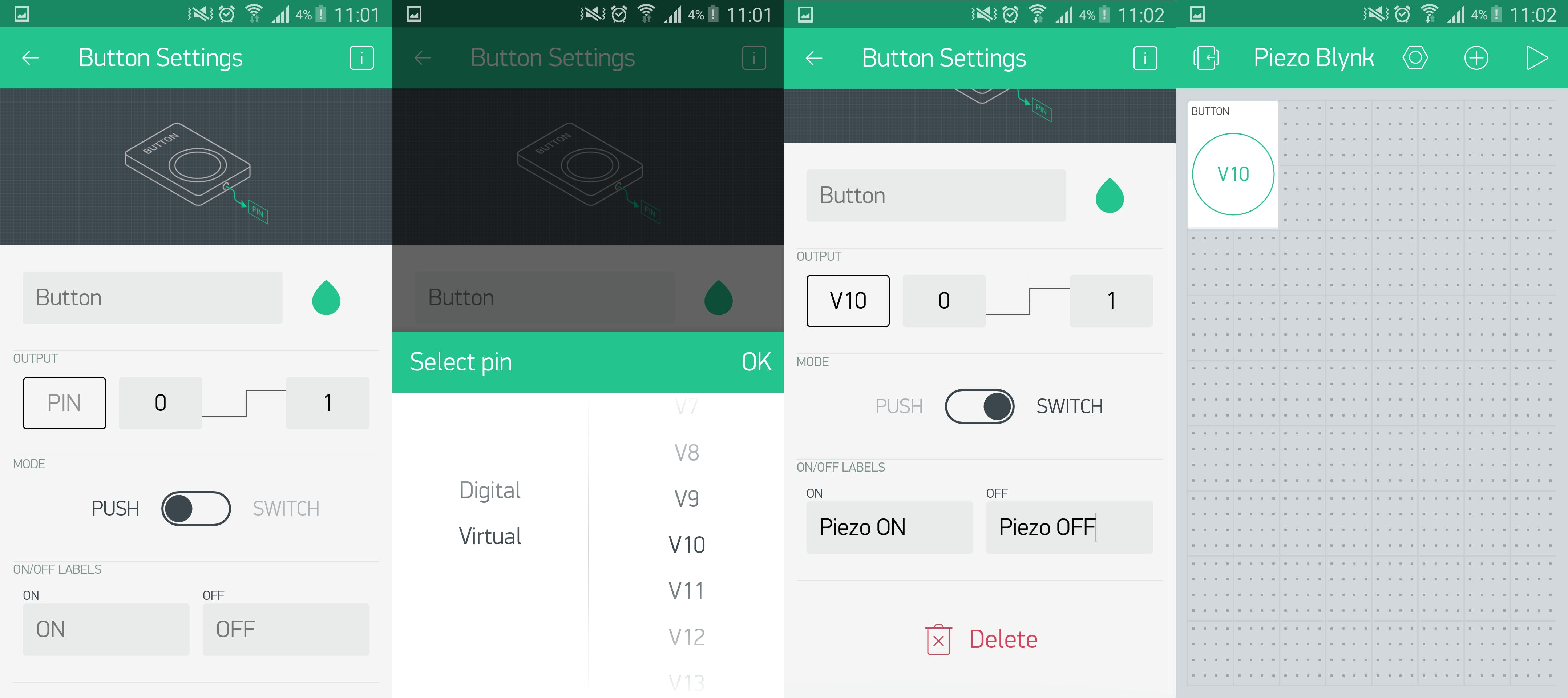 Selecting the settings for your pins