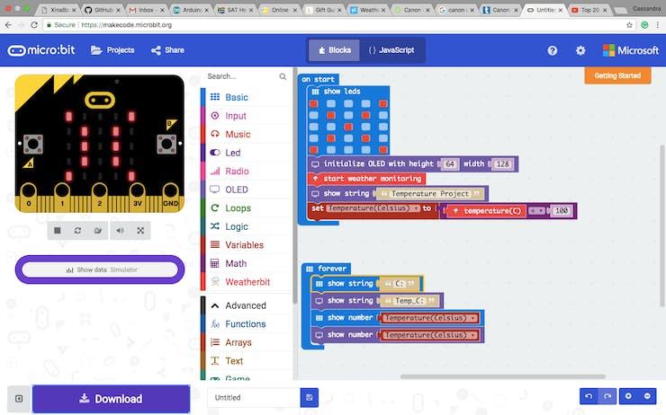 Figure 6: The code in Blocks
