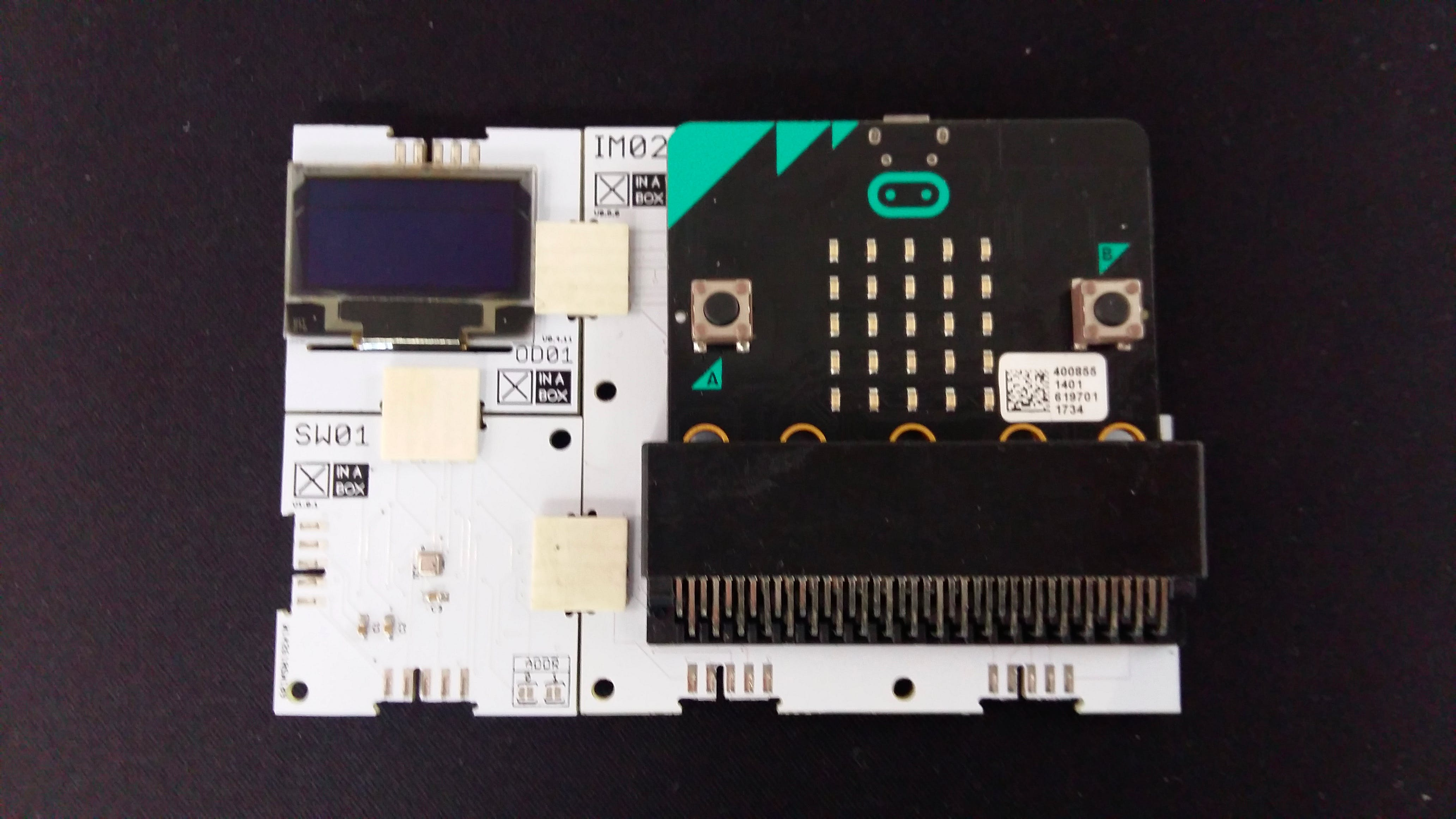 Figure 3:Connected IM02, SW01, OD01 and Micro:bit