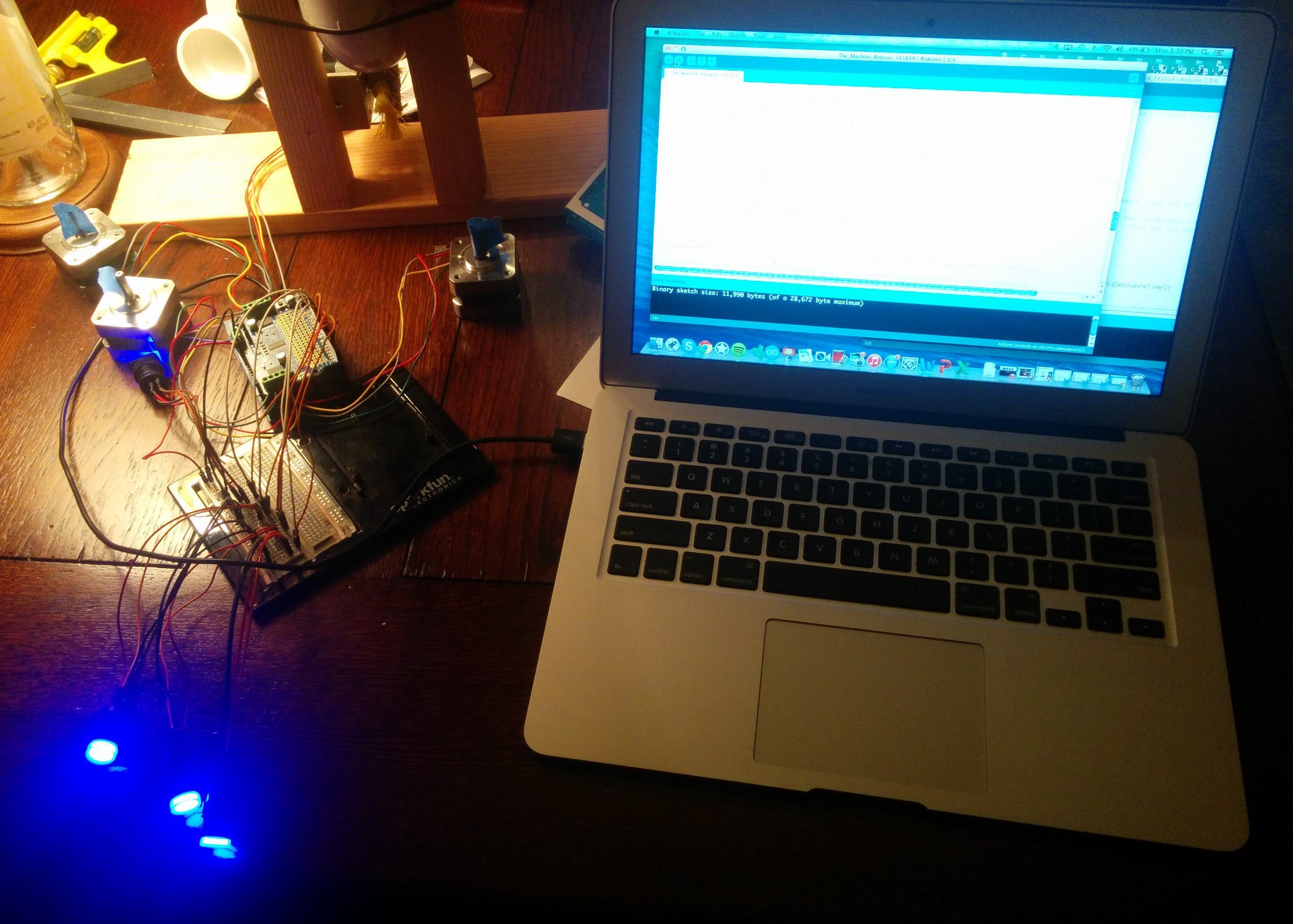 """Roadkill"" prototype with the Arduino spinning all four stepper motors. It works!"