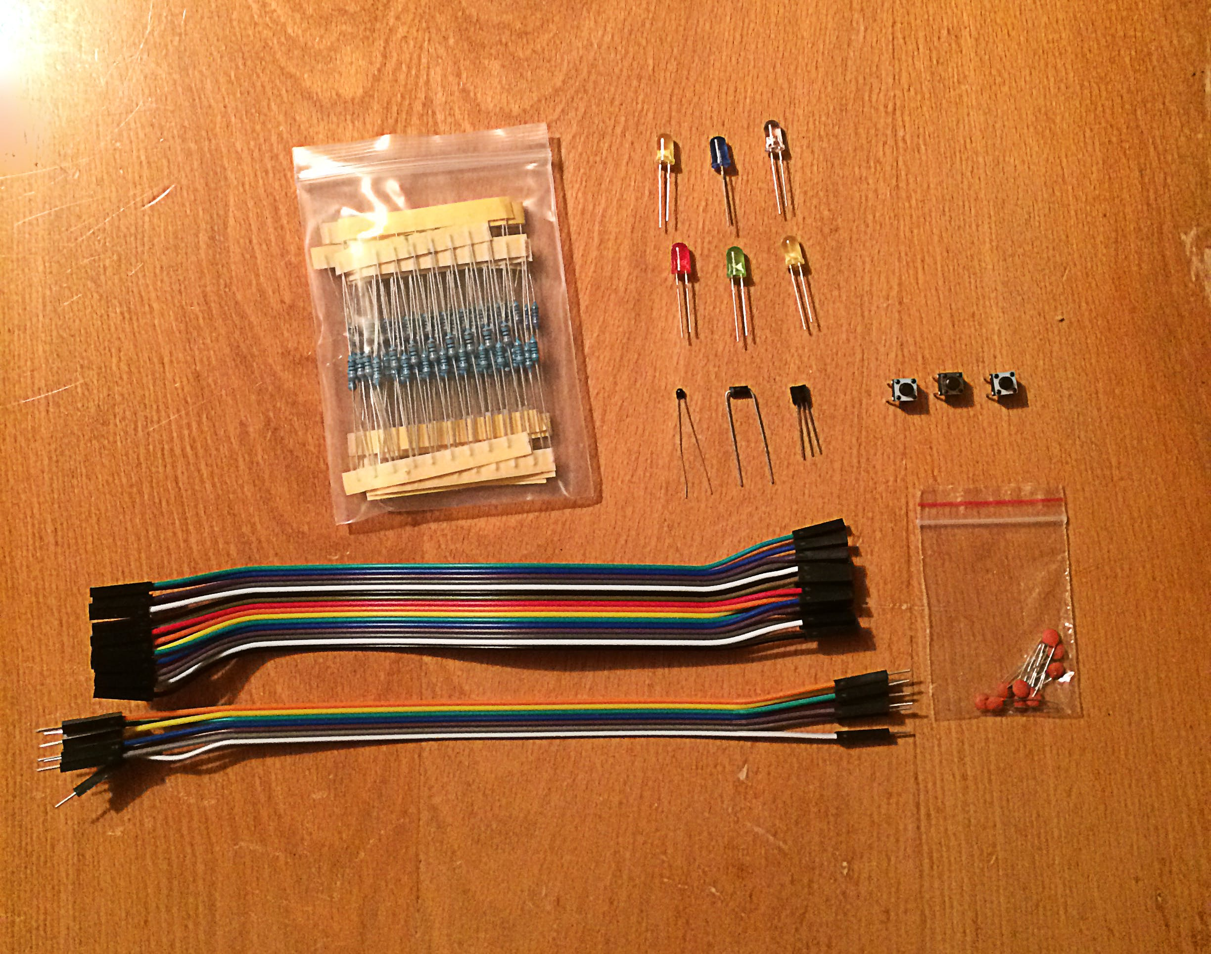 An example of some of the components you can get in a kit — the more components, the better!