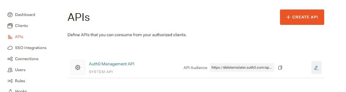 """Click """"Create API"""""""