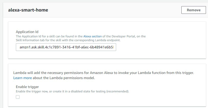 Enter your Alexa Skill Application Id