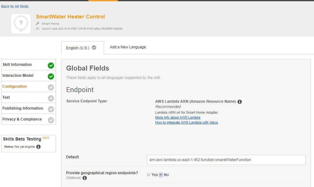 Copy in your AWS Lambda ARN