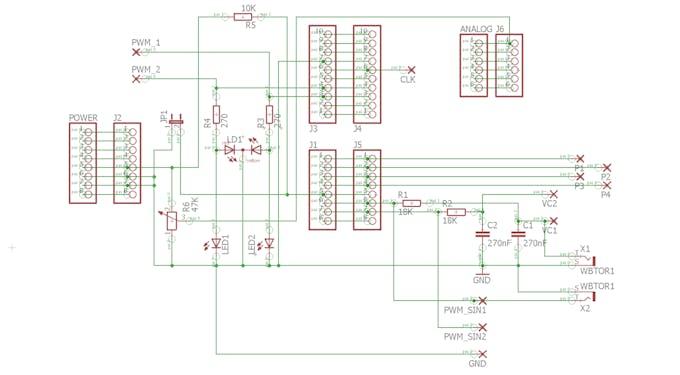 PWM Learning Board Shield Circuit Diagram