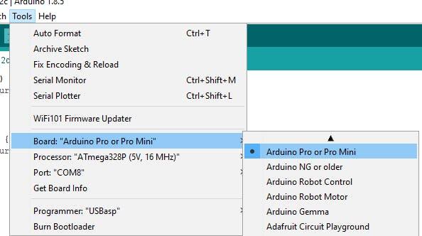 Select the Arduino Pro or Pro Mini board and  the Atmega328P (5V, 16MHz) processor