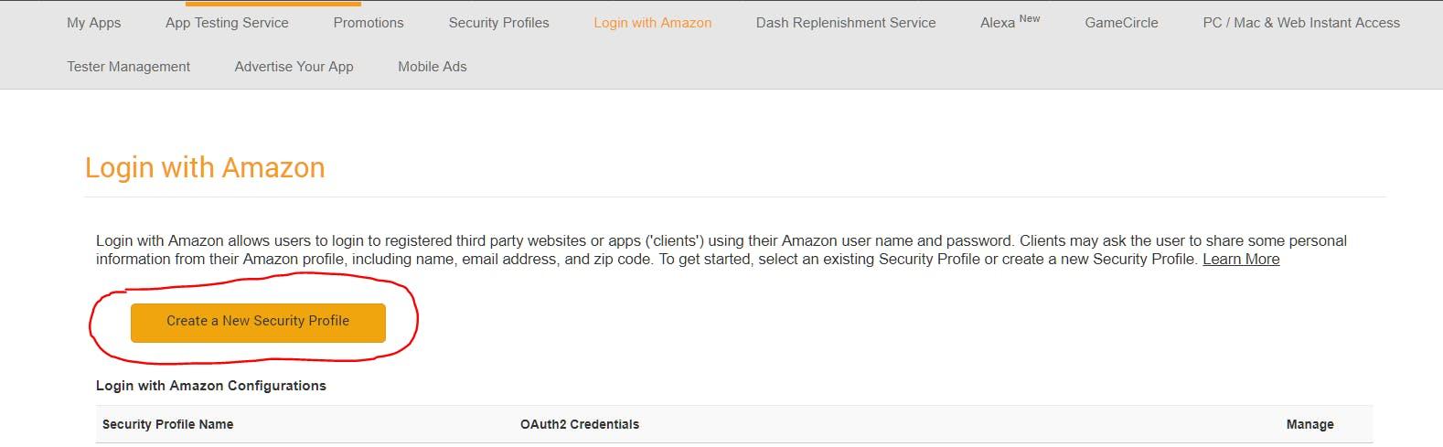 Create Security Profile