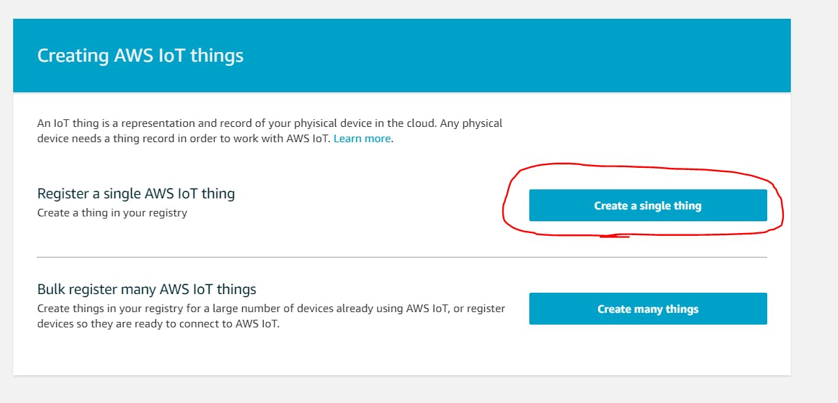 AWS IOT - Create Thing