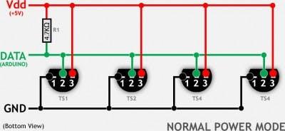 Read Temperature 1-8 Sensors DT18B20 on LCD Display