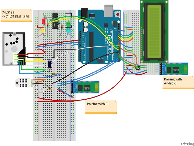 Arduino with Sensors and LCD, HC-06 If use Magconn  that will be more simple