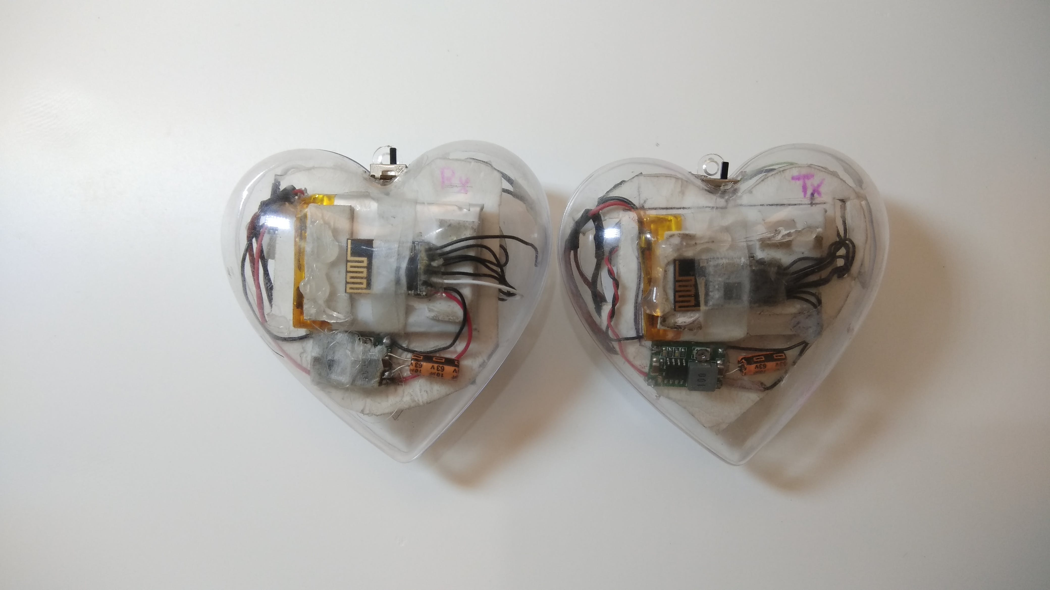 The back of the LED heart