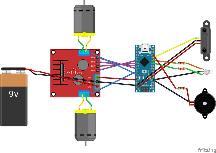 This is a circuit diagram for Wall-E. It has an Arduino Nano, a motor shield, two DC motors, a 9V battery, a bi-colour LED, an infra-red sensor, and a piezo buzzer.