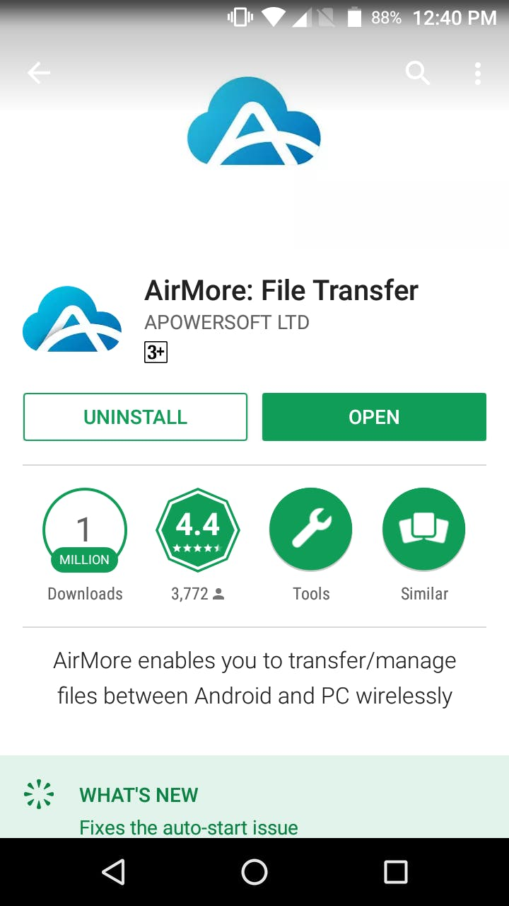 AirMore Android app to cast my Android screen