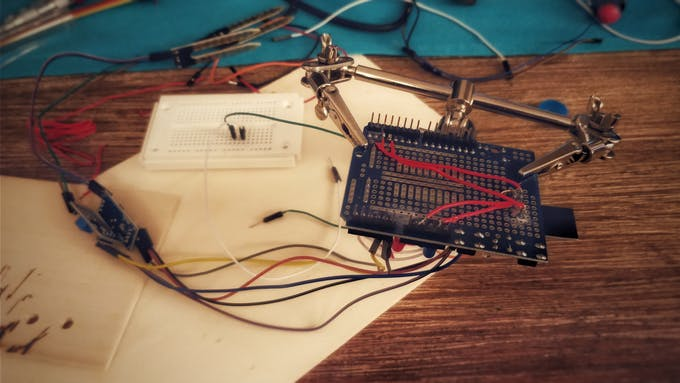 soldering the esp on a prototype shield