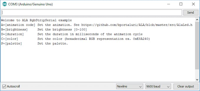 ALA commands in the Arduino Serial Monitor