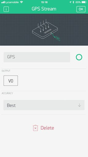 click on the GPS widget, in the settings panel, configure OUTPUT to V0