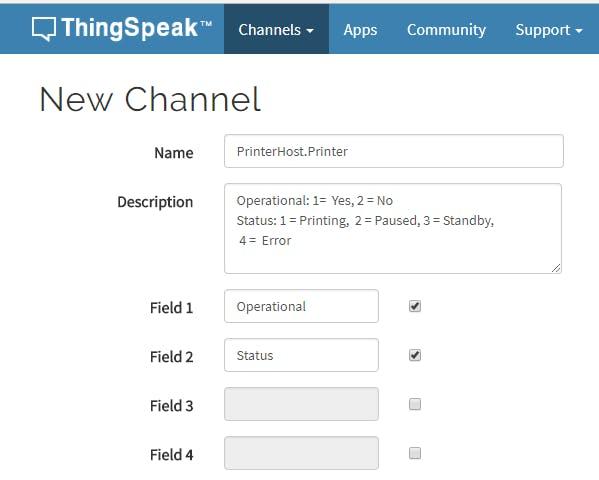 Copy into Thingspeak Channel