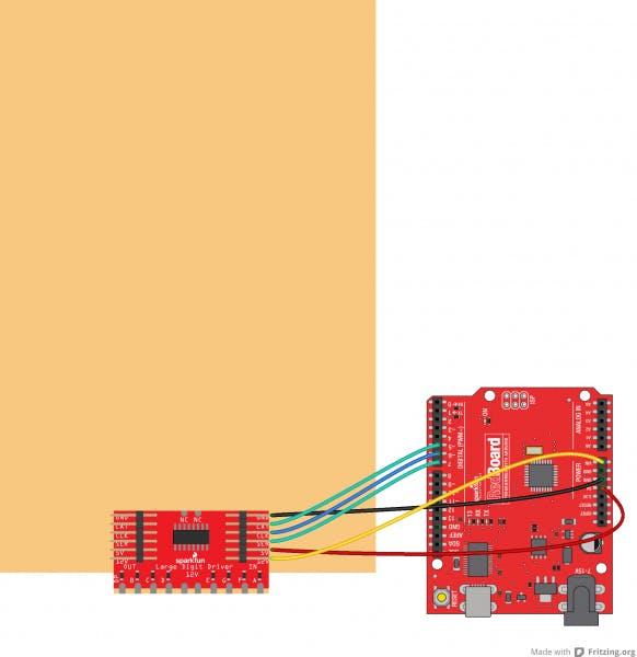 Arduino interface for Seven Segment Display. Image Source: Sparkfun.com