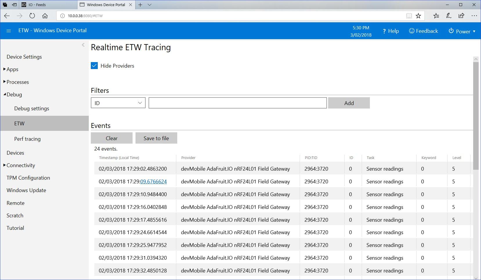 Windows 10 ETW events viewed using device portal