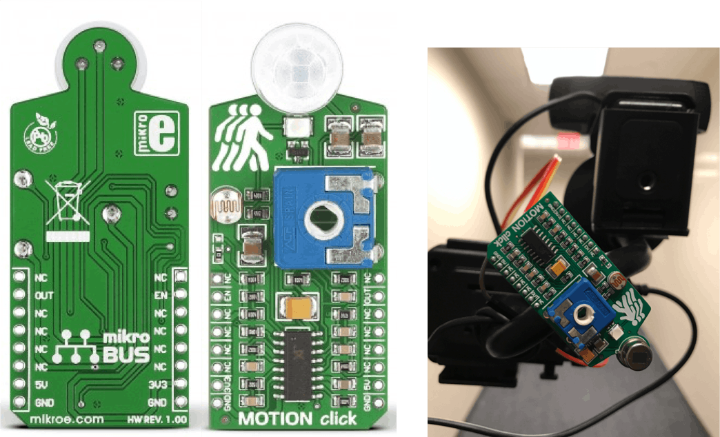 back and front view of Motion Click and mounted on our project
