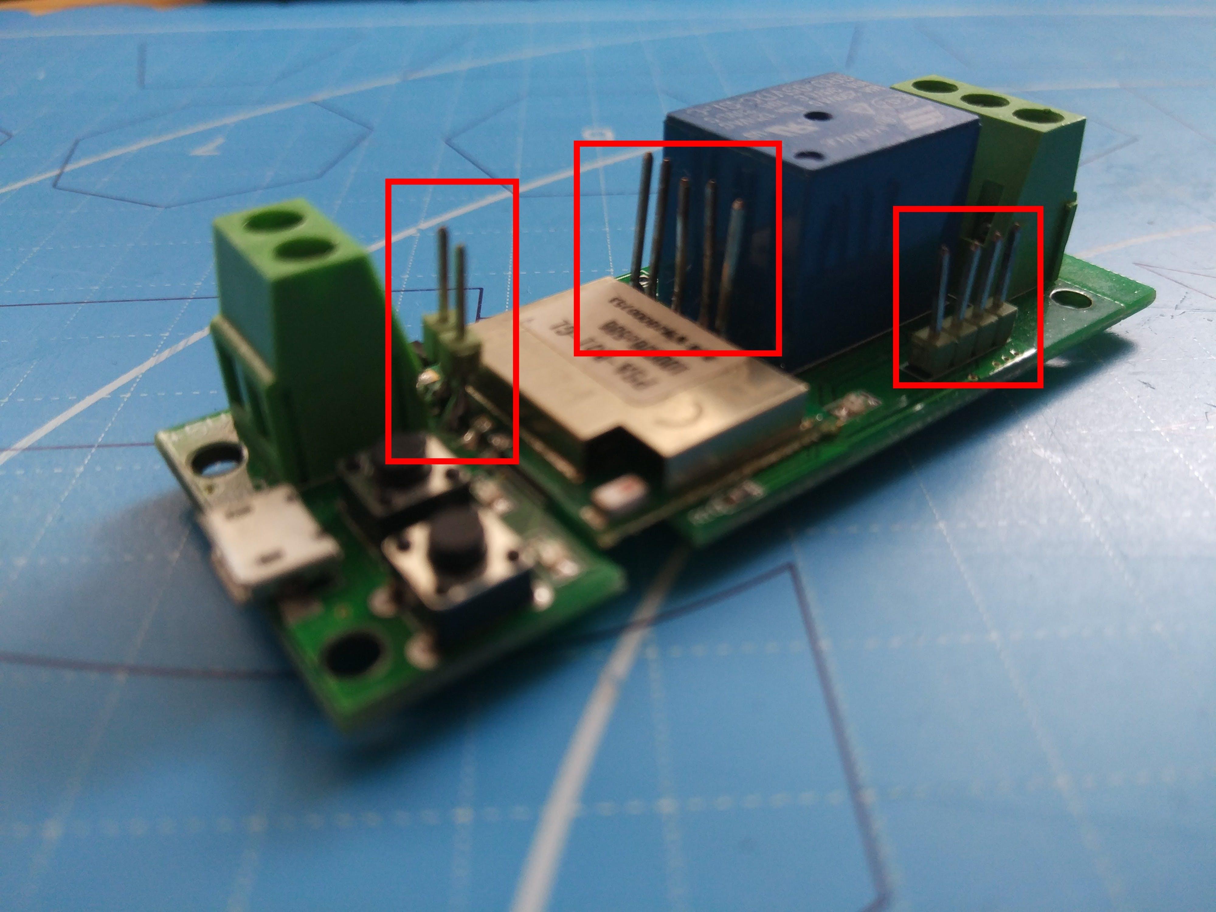 Soldered pins detail