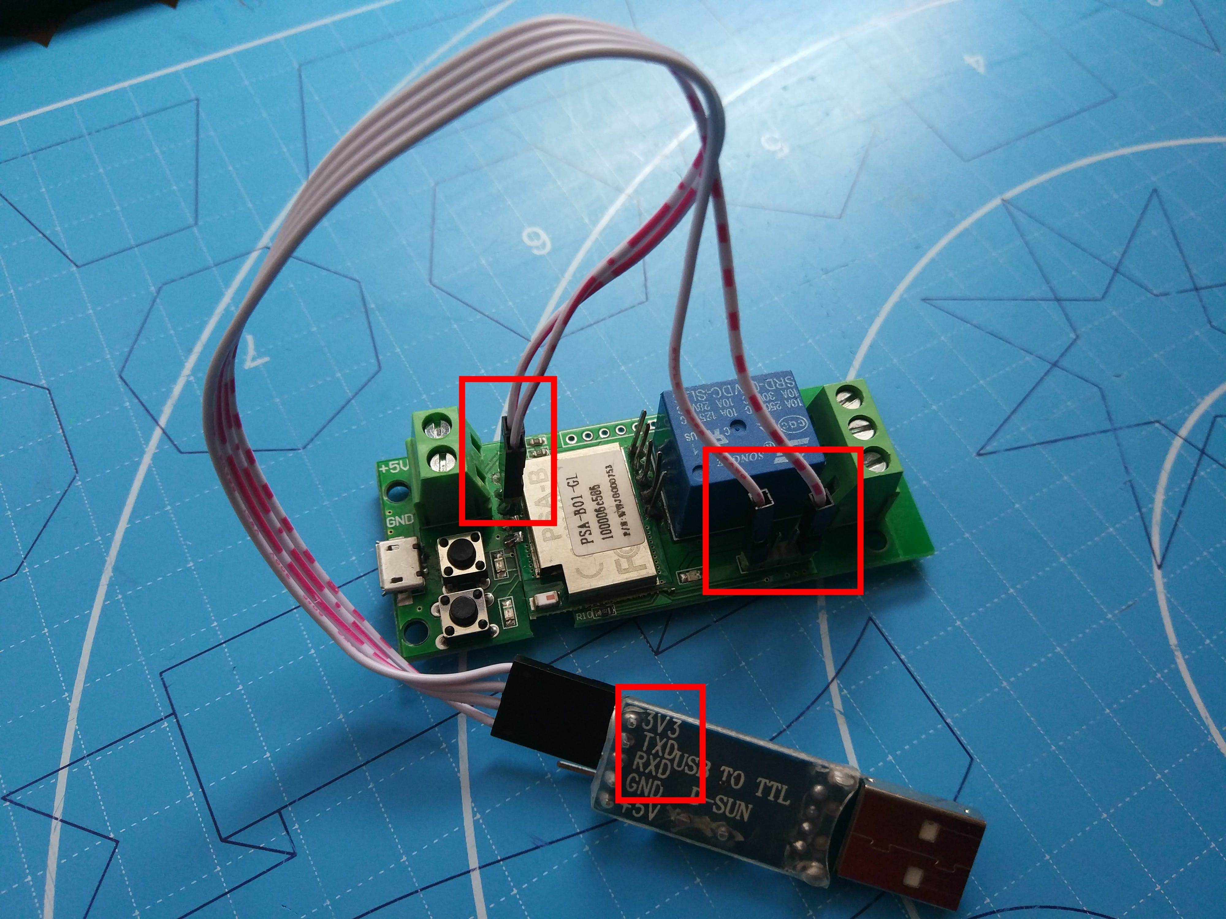 Connected USB-to-Serial device wires to ITEAD 1-CH WiFi Switch soldered pins