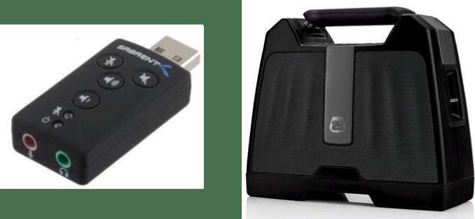 Sabrent USB 2.0 External 2.1 Surround Sound Adapter and wireless speaker