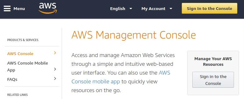 AWS Console Web Page