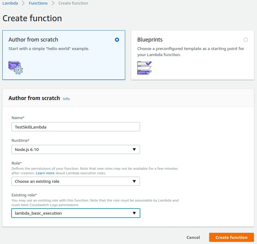 Create function with role created