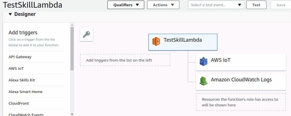 Lambda function designer page