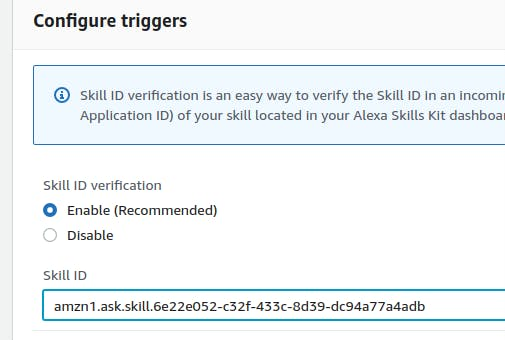 Link skill and lambda function with Skill ID
